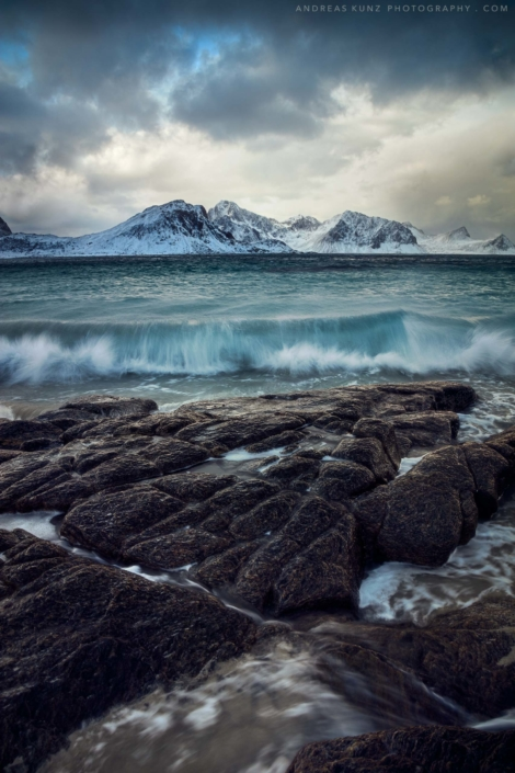 Seascape coast of Lofoten in Norway with waves