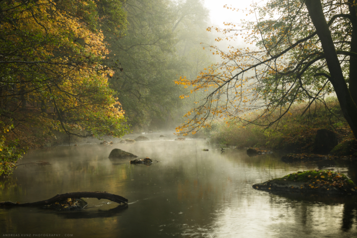 Smokeing stream in autumn Germany
