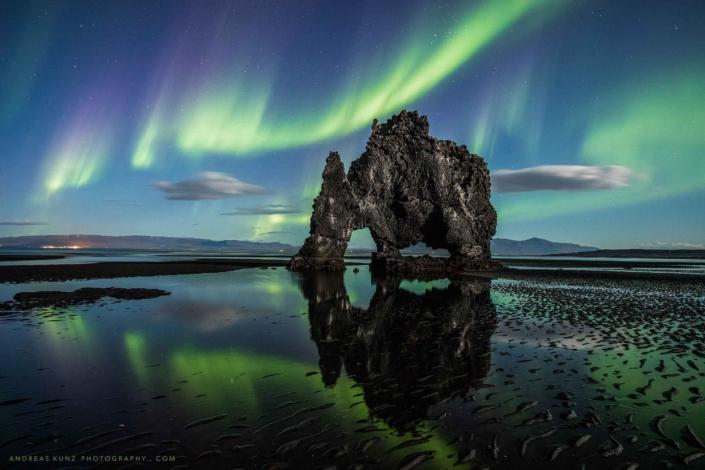 hvitserkur-with-northern-lights