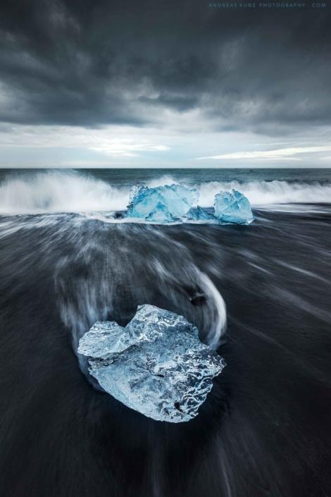 Iceland-seascape-ice-cube-on-diamon-beach-Andreas-Kunz-Photography