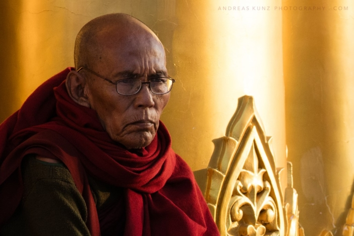 portrait monk with gold