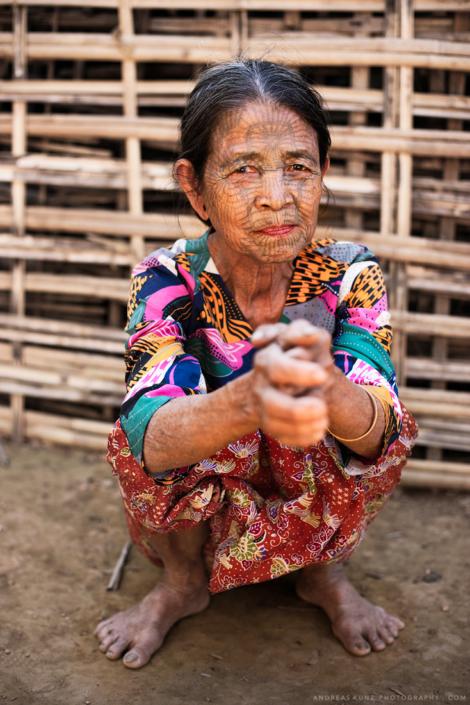 Spiderweb tatto Chin woman in myanmar