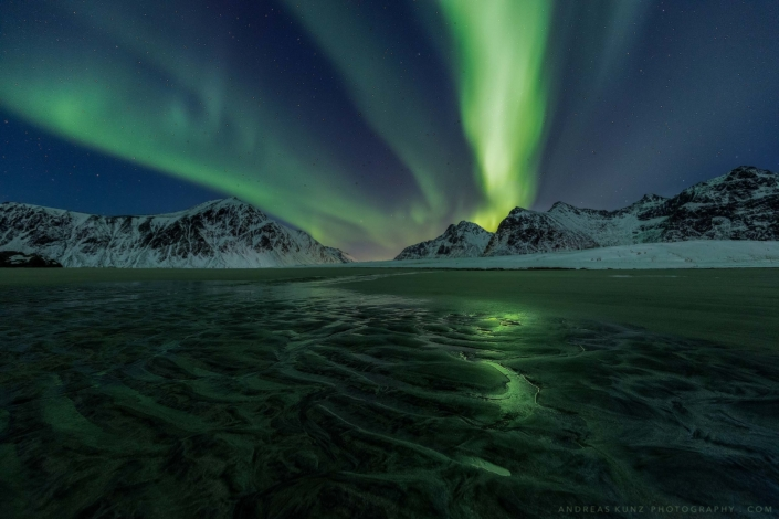 Norway-Skagsanden-beach-with-northern-lights-Andreas-Kunz-Photography