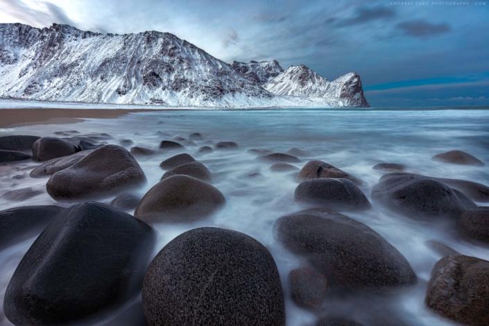 seascape-Unstad beach at winter in Lofoten