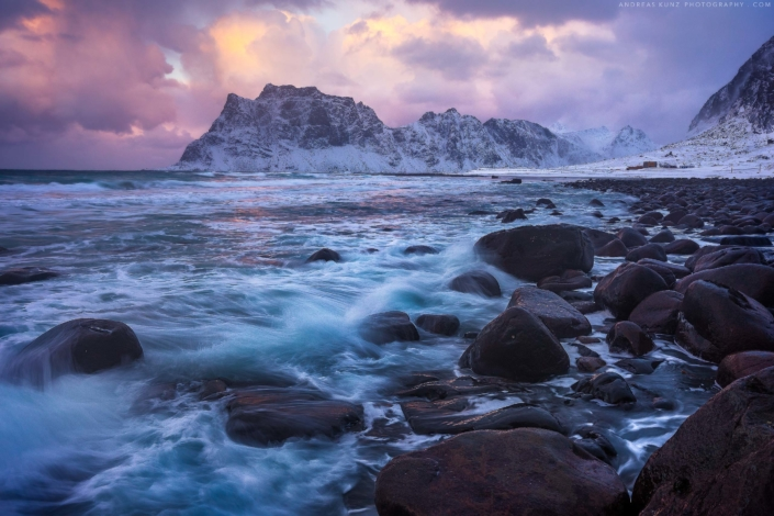 Norway-seascape-beach-winter-with-rocks-at-sunset-Andreas-Kunz-Photography