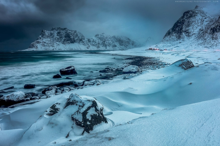 Lofoten beach winter storm