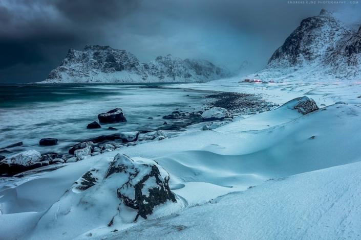 Lofoten beach winter storm